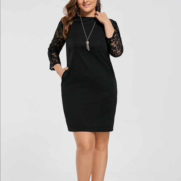 Cocoepps Dresses Black Dress With Mesh Lace Sleeves Poshmark